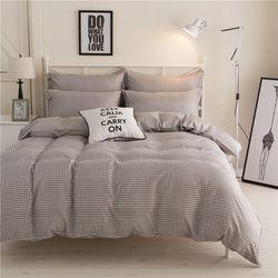 Mecerock Modern Sederhana Lembut Set Tempat Tidur Abu-abu Kotak-kotak Selimut dan Set Tempat Tidur Penuh Ratu Tempat Tidur King Sheet Set Nordic bed Cover