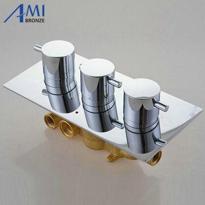 3 Zifferblätter 3 Möglichkeiten Thermostat Mischbatterie Chrom Messing Dusche Ventil Panel Mit Umsteller Bad Wasserhahn Wasserhahn