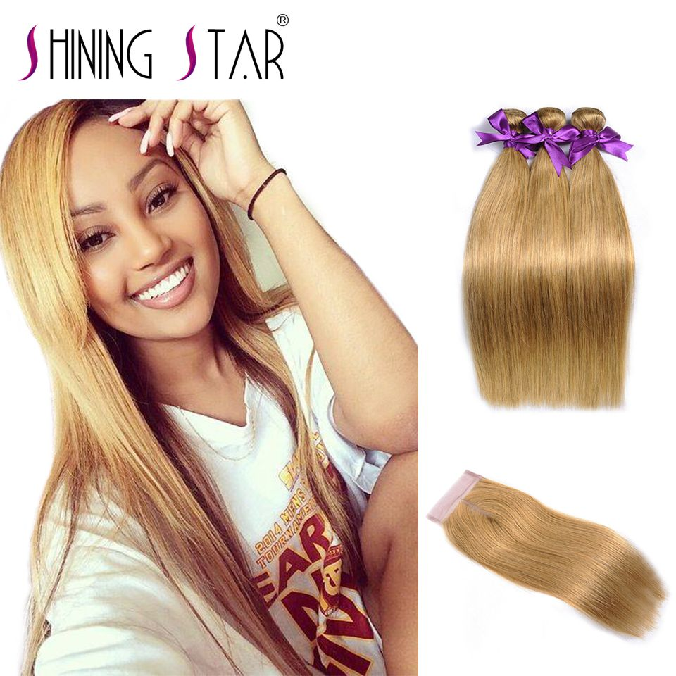 Color 27 Honey Blonde Brazilian Straight Hair Bundles With Closure Blonde Human Hair 3 Bundle With Closure Shining Star NonRemy