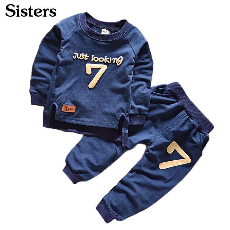 Bébé Garçons Vêtements ensemble Casual Sport Lettres Survêtement Infant Toddler Filles Vêtements Top 2 pcs T-shirt + Pantalon Enfants Chaud automne