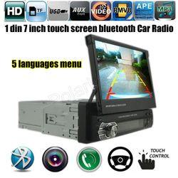 12 V Coche Estéreo Bluetooth FM Radio Teléfono MP5 Reproductor de Audio USB/TF de Radio En El Tablero 1 DIN 7 pulgadas 5 idiomas de menú