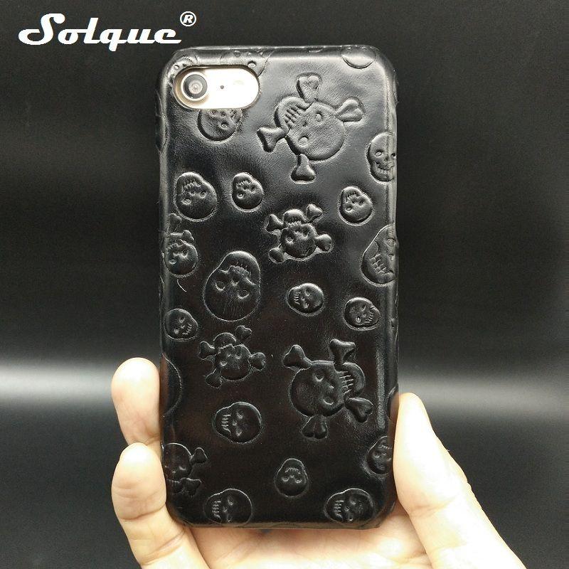Étui en cuir véritable Solque pour iPhone 7 Plus Ultra mince téléphone Fundas luxe 3D crâne couverture rigide étuis de téléphones portables