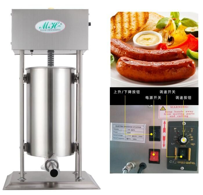 Commercial Electric Sausage stuffer 15L Sausage filling machine Automatic Stainless steel Sausage filler 110/220V with 4 funnels