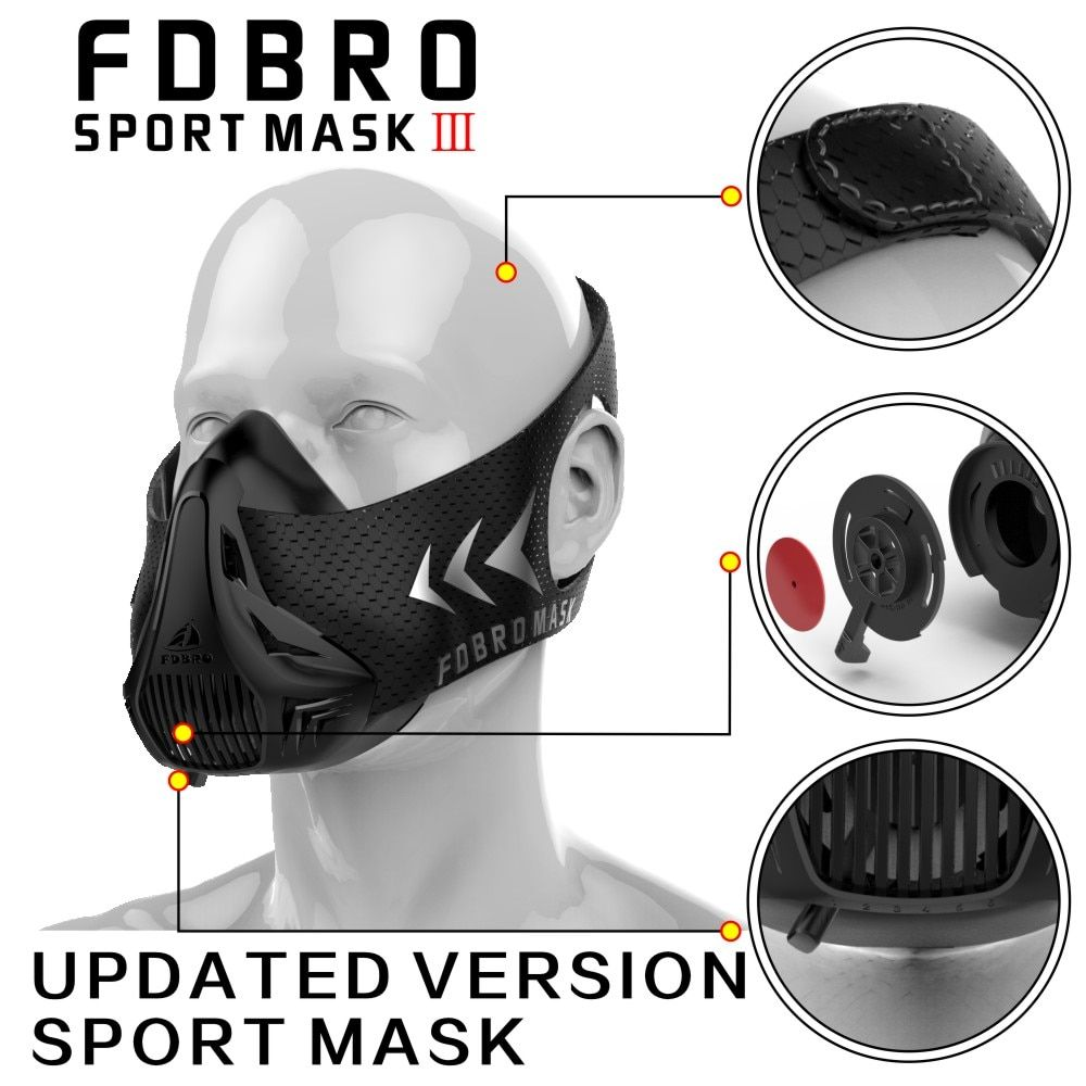 Nueva fdbro deporte máscara embalaje Estilo negro de alta altitud entrenamiento máscara deportiva 2.0 y mask3.0 fantasma máscara envío libre