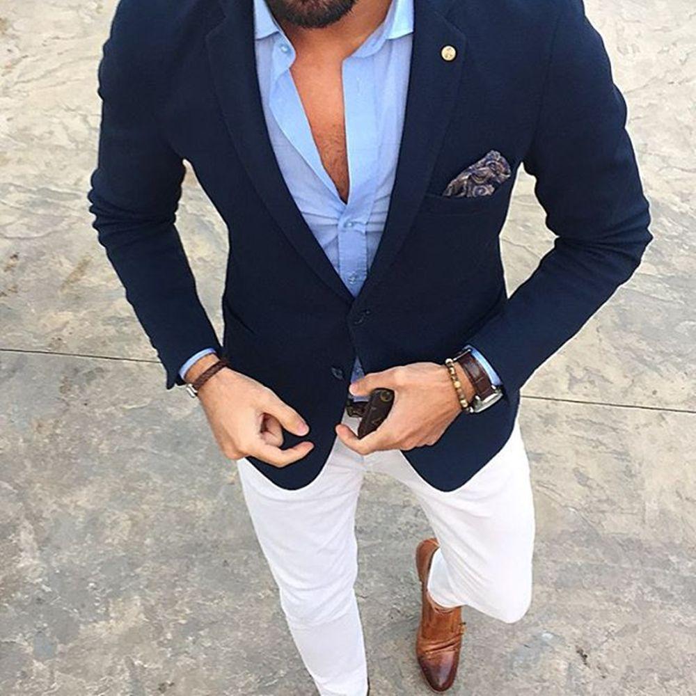 Mucielee Blazer Masculino Slim Fit Mens Tuxedo Cheap Mans Suit Latest Coat Pant Designs Costume Homme 2 Pieces (Jacket+Pants)