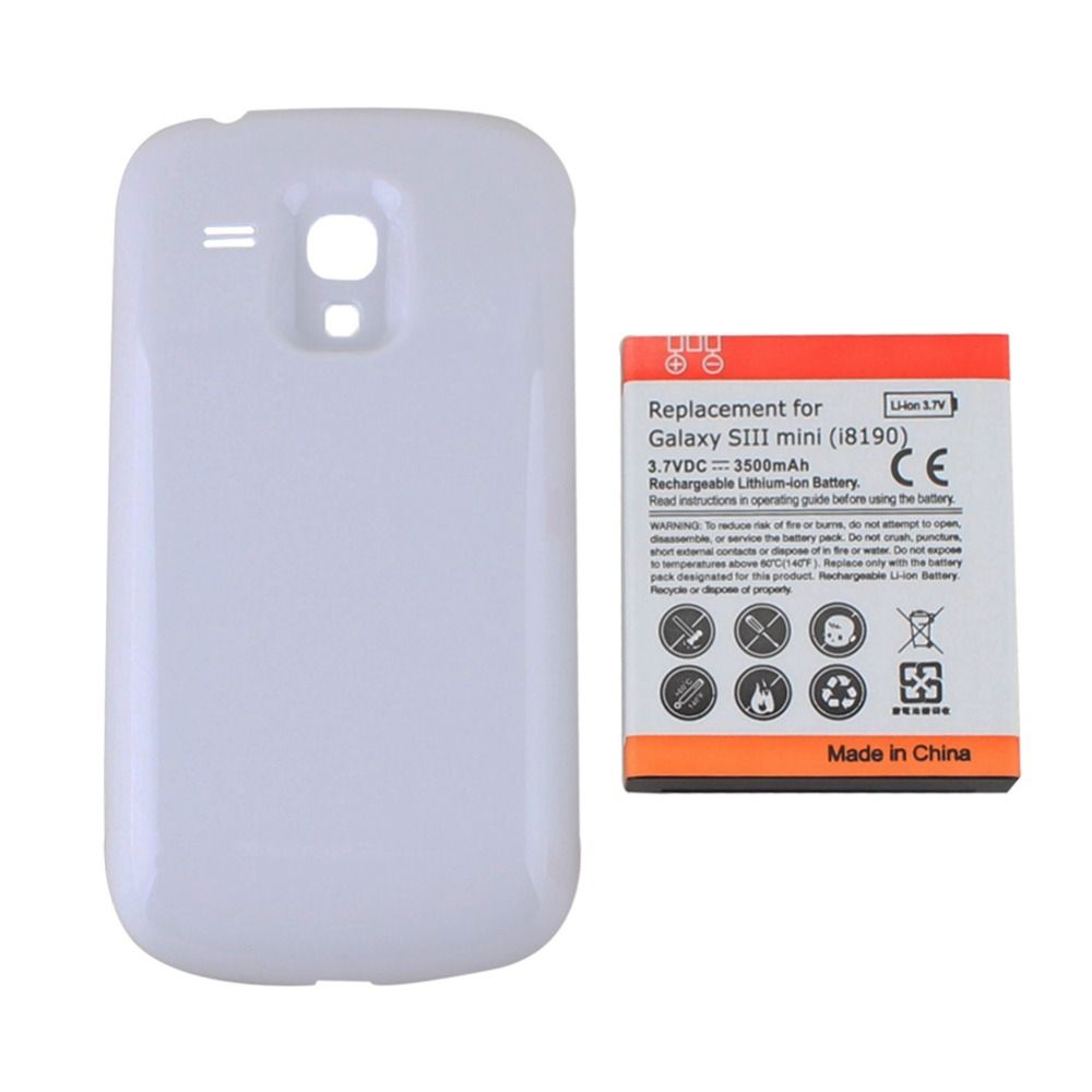 Replacement Extended Backup Thicker 3500mAh Battery + Back Cover Case For Samsung Galaxy S3 SIII Mini i8190 White