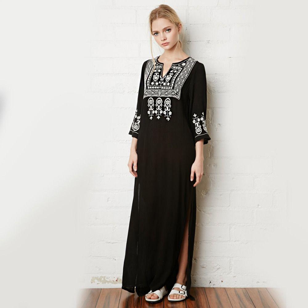 Khale Yose Floral broderie robe col en v noir Vintage Maxi robes coton vacances Boho Chic ethnique Split plage femmes vêtements