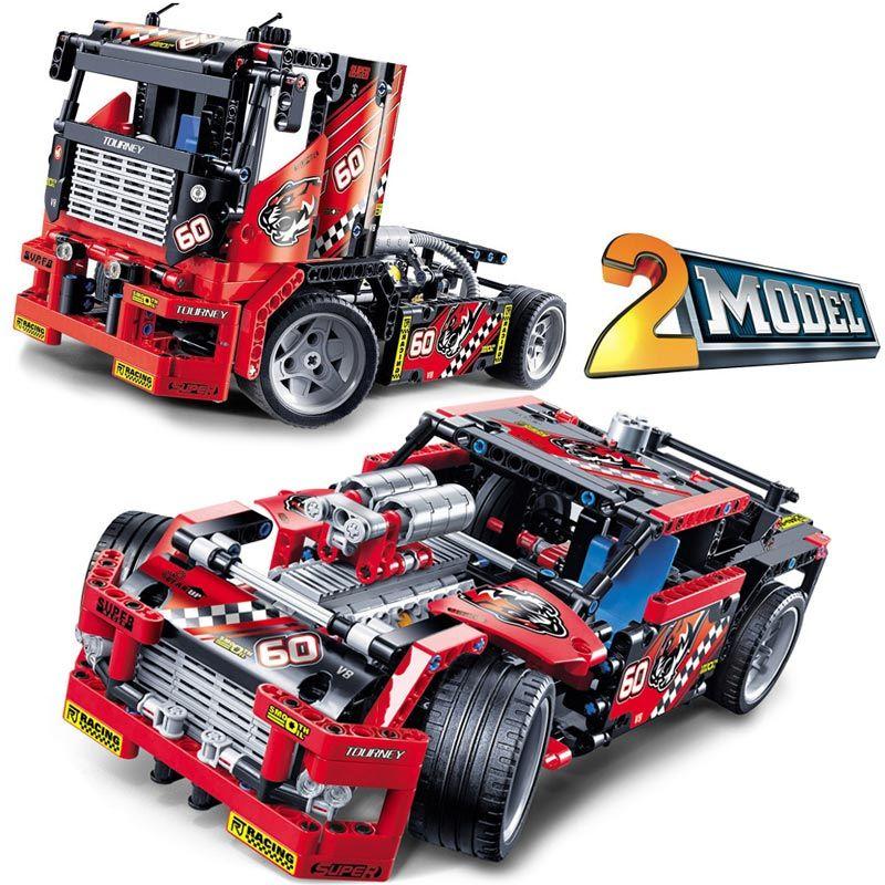 608 pcs Camion de Course De Voiture 2 En 1 Transformable Modèle Building Block Sets Decool Technique DIY Jouets Pour Enfants Compatible Legoings