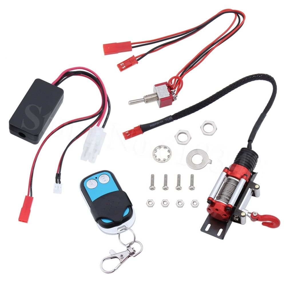 RC Crawler Automatic Winch & Wireless Remote Control & Receiver Set for 1/10 Axial SCX10 RC4WD D90 Rock Climbing Car Parts
