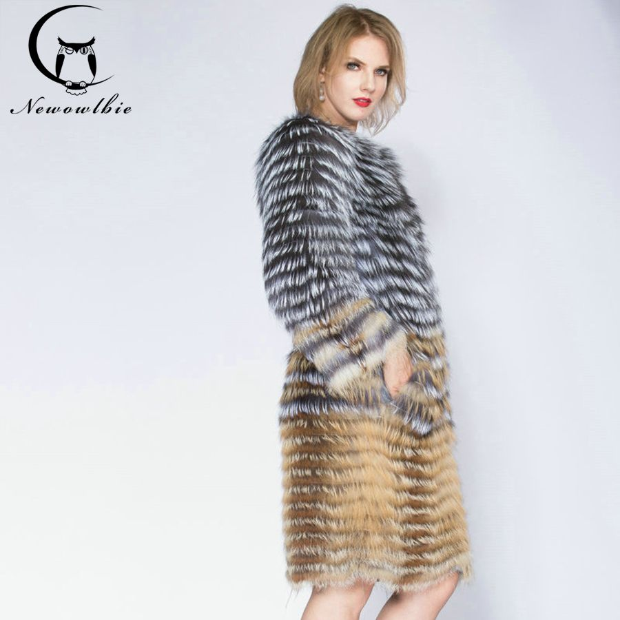 2018 Sandbar Fur Wholesale Genuine Leather Real Fox Fur Sliver Fox Fur Women Coats Female natural color Real Fox Fur