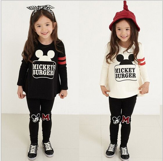 2017 New Baby Girls Clothing Sets Spring Costume for Girls Clothes Minnie Clothing Long Sleeve Children Clothing for Girls 3-8Y