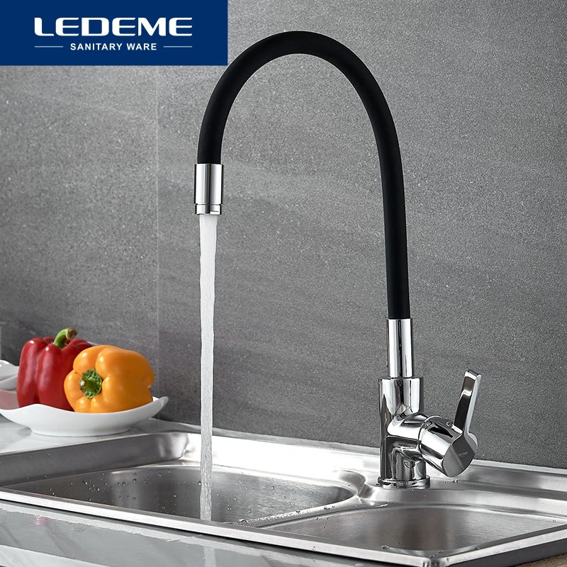 LEDEME Chrome Finish Kitchen Sink Faucet Single Handle Polished Taps Brass Mounted Mixer Water Taps Basin Faucets L4898