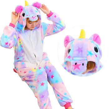 Хэллоуин осень-зима Пижамы для девочек мультфильм пижамы Для женщин пижамы Рождество фланель животного панда стежка единорог пижамы