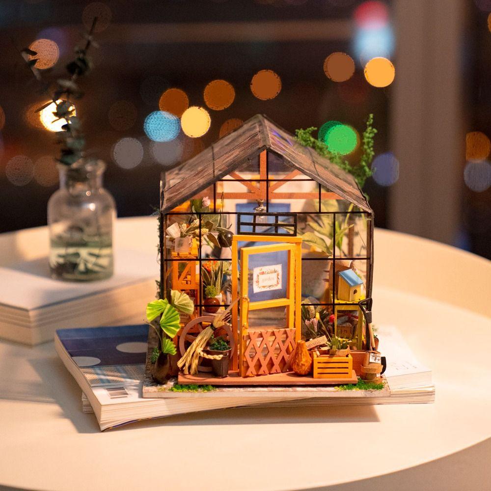 Robotime bricolage maison de poupée en bois Figurine de jardin Miniature maison de poupée décoration à la main Cathy maison de fleurs artisanat d'art DG104