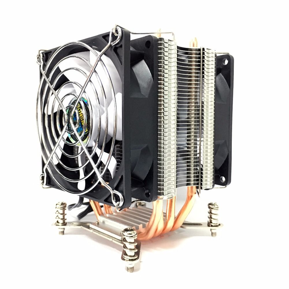 LANSHUO HOT-CPU Silent Fan Cooler for Intel X79 LGA2011 processor 4 heat pipes Cooling CPU Radiator 2 Fan