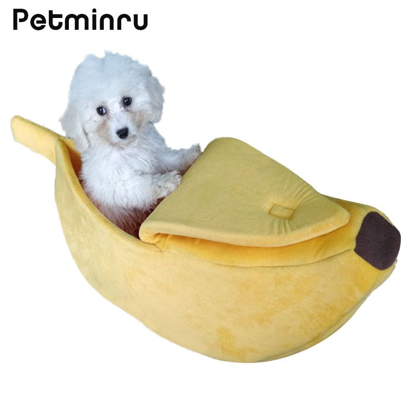 Petminru Pet Cat House Dog Bed Banana Shape Dog House Cute Pet Kennel Nest Warm Dog Sofas Cat Sleeping Bed