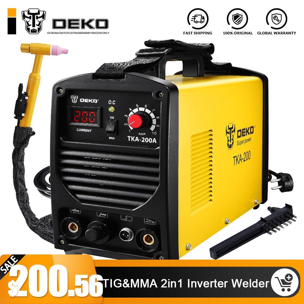 DEKO TKA-200 200A 5.8KVA IP21S Inverter Arc TIG 2 IN 1 Elektrische Schweißen Maschine MMA Schweißer für Löten Arbeits