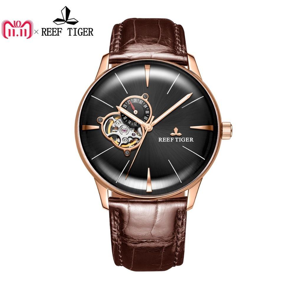 Neue Riff Tiger/RT Luxus Rose Gold Uhren männer Automatische Mechanische Uhren Tourbillon Uhren mit Braun Lederband RGA823