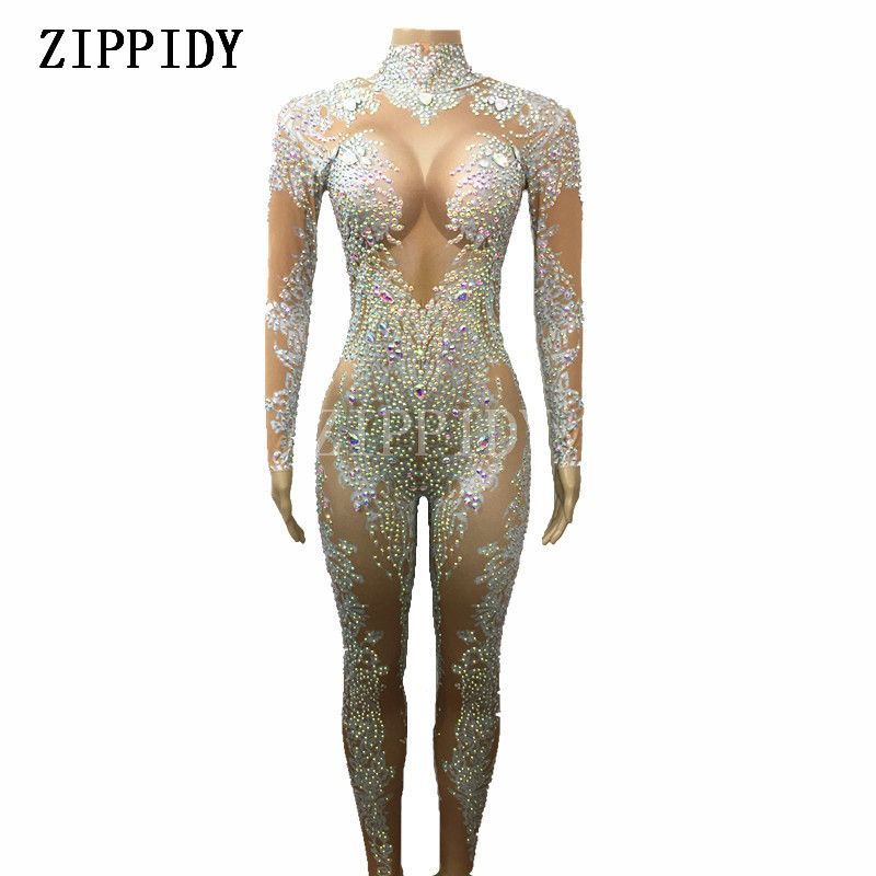 AB Rhinestones Sparkly Jumpsuit Fashion Sexy Nude Big Stretch Dance Costume One-piece Bodysuit Birthday Outfit Party Leggings