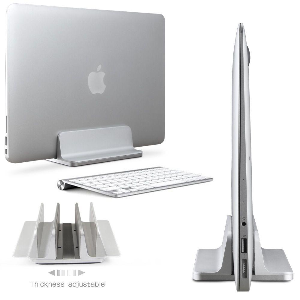 Space-saving Aluminum Vertical Stand for Laptop MacBook Pro/Air , Thickness Adjustable Desktop NoteBooks Holder Erected
