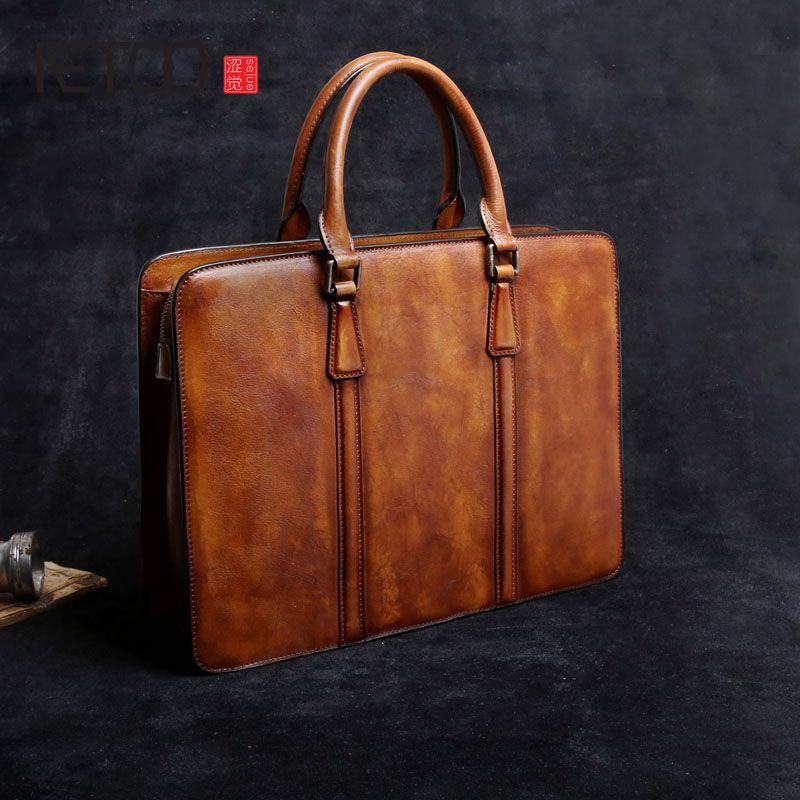 AETOO First layer of leather men bag handbag business casual briefcase shoulder retro computer