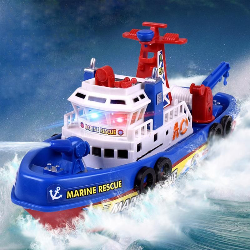 Electric Fire Boat Sprinkler Water Marine Rescue Toy Water Spray Ship Flashing Music Marine Model Boat Toy Kids Birthday Gift