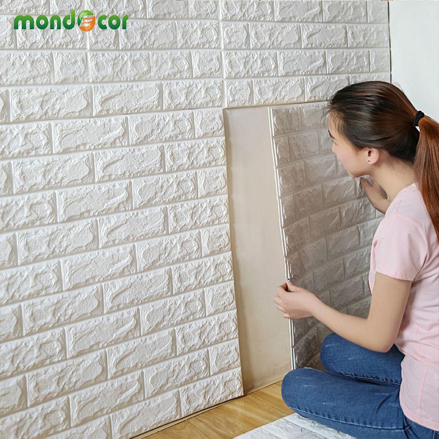 70 cm X 77 cm PE Forme 3D Stickers Muraux Salon Brique Motif Mur Papier Stickie Enfants Chambre Maison décor Auto-adhésif Papier Peint
