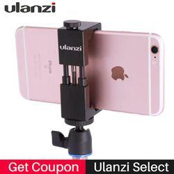 Ulanzi IRON MAN Phone Tripod Mount Stand Clip Adapter Metal Aluminium Clamp for Tripod Universal for iPhone Huawei smartphones
