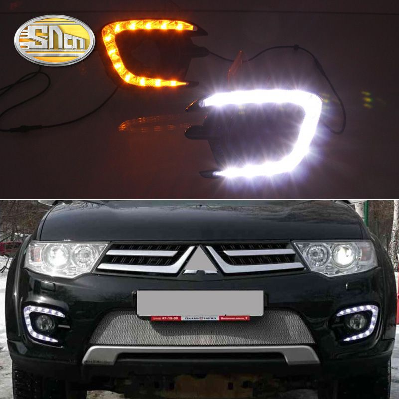 For Mitsubishi Pajero Sport 2015 2014 2013,Yellow Signal Function Relay Waterproof 12V Car LED DRL Daytime Running Light SNCN