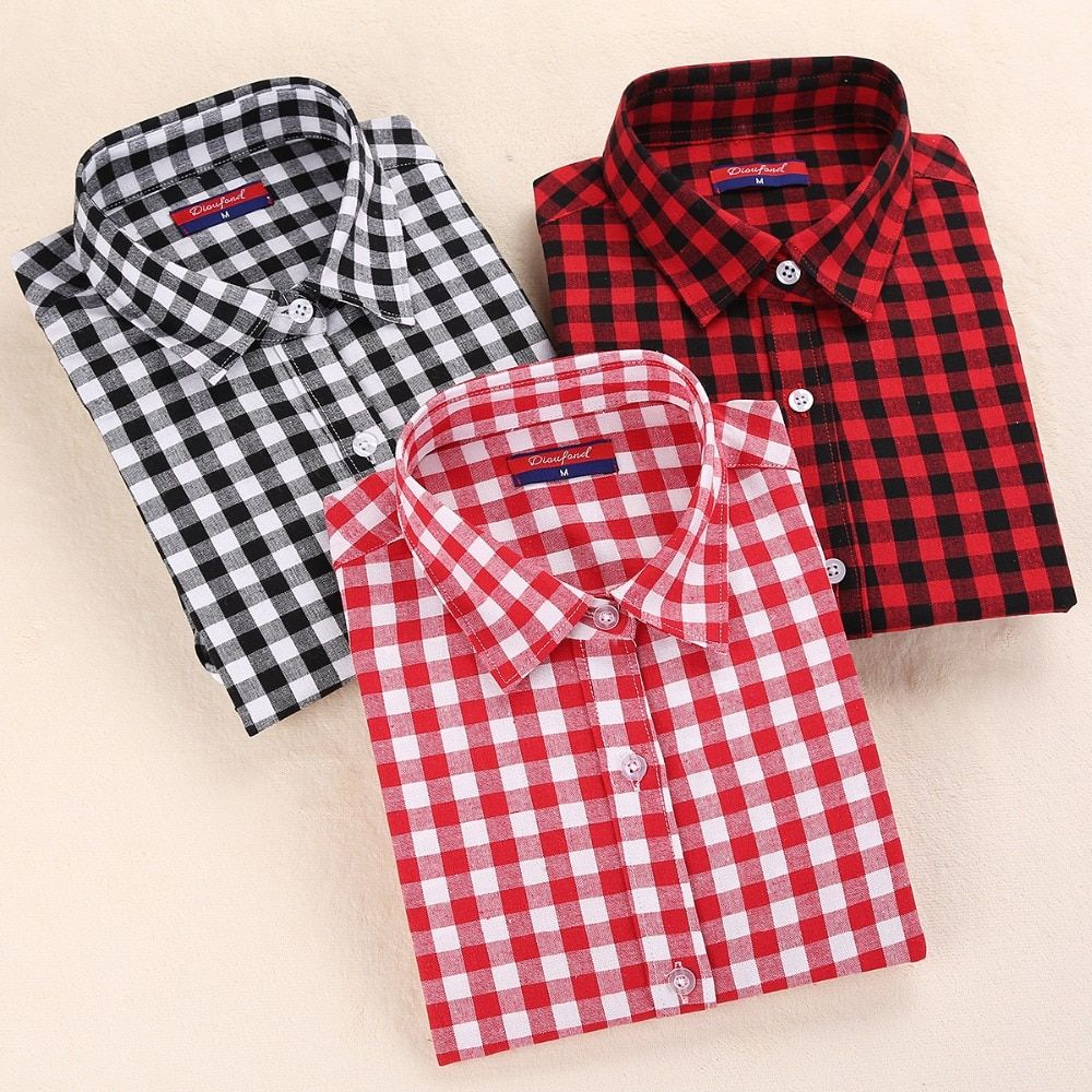 Dioufond New Women's Plaid Blouse Cotton Women Long Sleeve Tops Ladies Red Plaid Shirt Female Plaid Women Blouse Plus Size Shirt