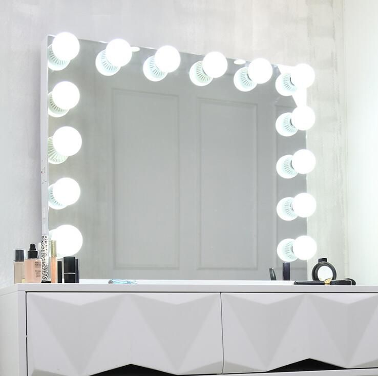 80*65cm Larger LED Makeup Mirror Double color Light Cosmetic Mirror Make Up Mirror for gift