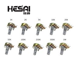 10pcs WH148 Linear Potentiometer 15mm Shaft With Nuts And Washers 3pin WH148 B1K B2K B5K B10K B20K B50K B100K B250K B500K B1M