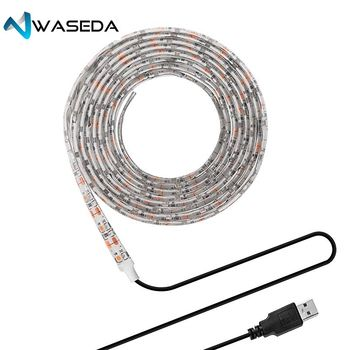 WASEDA USB DC 5VLED Strip Light TV Background Lighting SMD5050 DC 5V Flexible LED Tape 50CM 1M 2M 3M 4M 5M DIY Decorative Strip