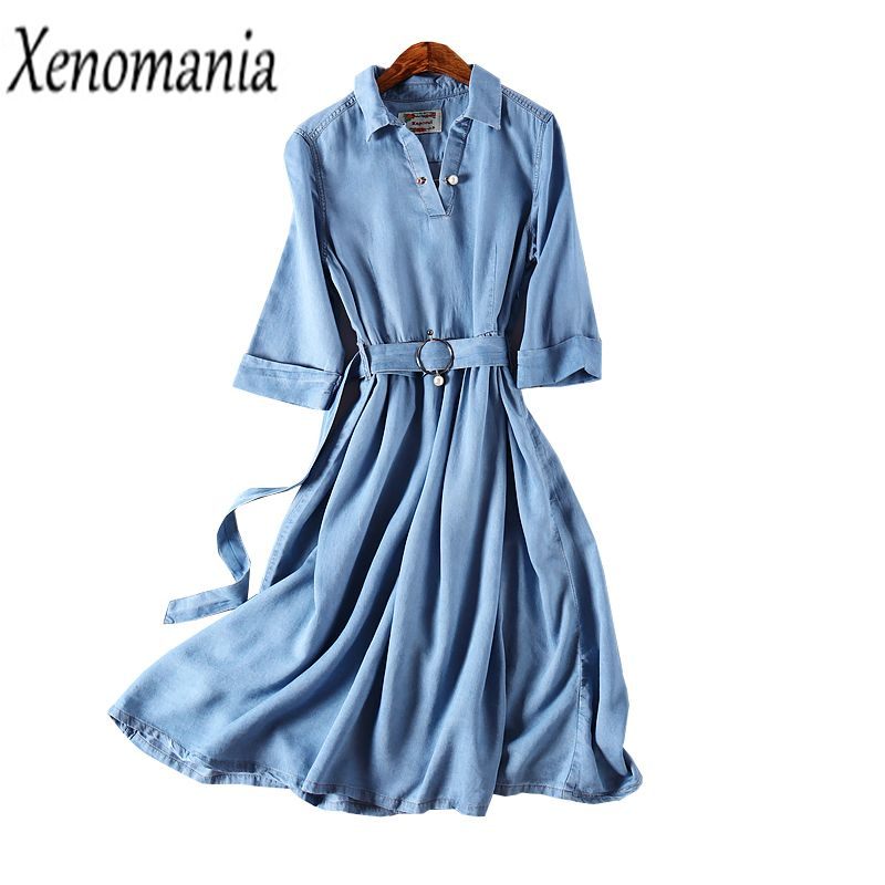 Vestido Jeans Denim Dress Women Vintage Dress Elegant Long Dresses 2018 Spring Summer Korean Robe Femme Midi Vestidos Skater