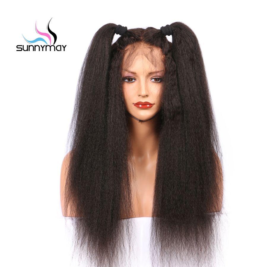 Sunnymay Remy de Cheveux Humains Avant de Lacet Perruques Femmes Sans Colle Kinky Droite Perruque de Cheveux Humains Avant de Lacet Perruques Noeuds Blanchis