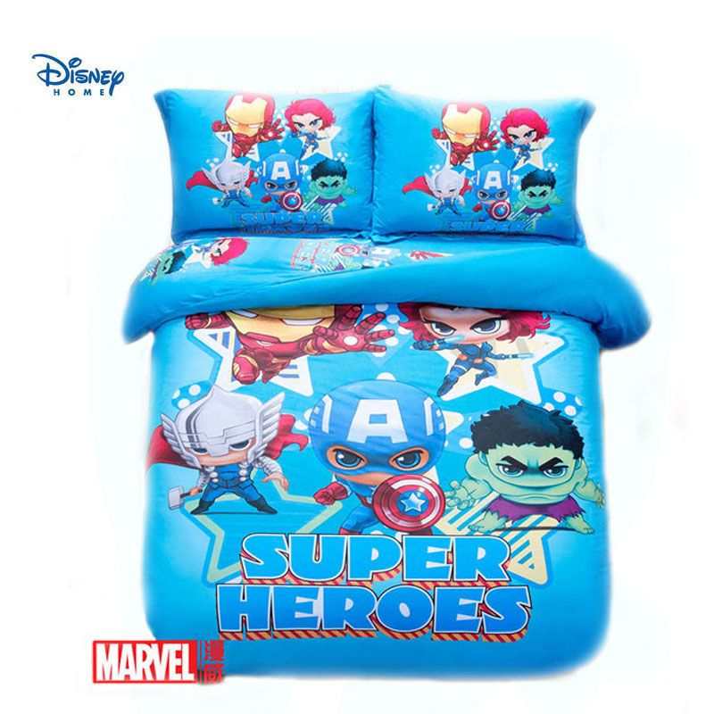 Kawai kid boy bedding set queen sizes full twin The Avengers character print blue comforter covers set 100% cotton pillow cases