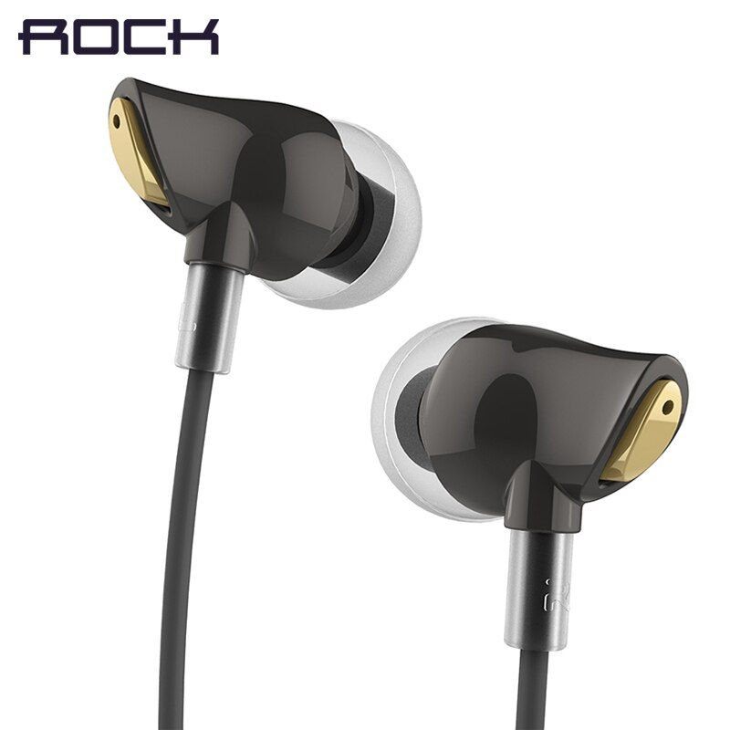 ROCK In Ear Zircon Stereo Earphone, Headset 3.5mm Luxury Earbuds For iPhone Samsung With Mic clear bass