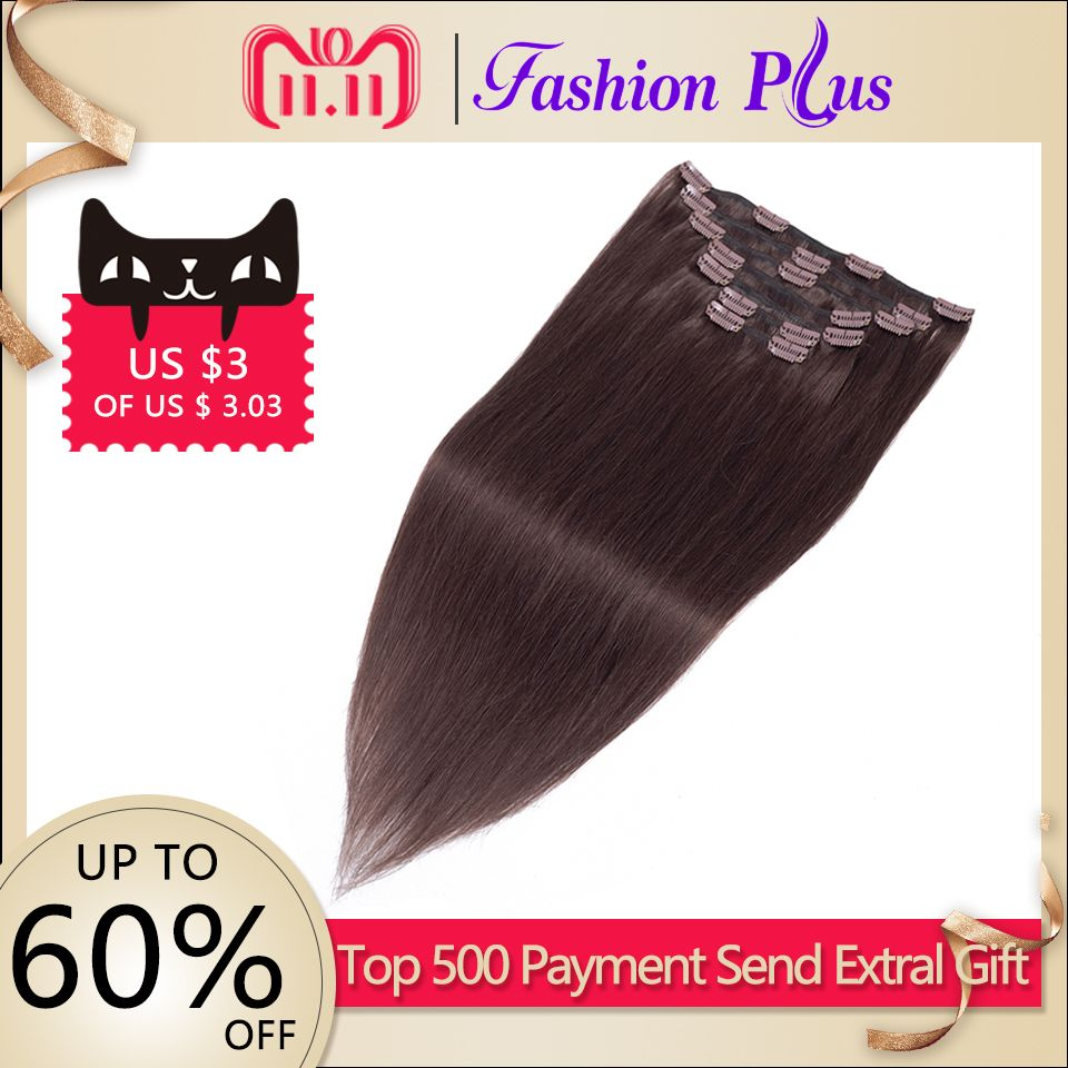 Fashion Plus Clip In Human Hair Extensions Machine Made Remy Hair 7pcs/Set 120g Natural Straight Human Hair Clips In Extensions