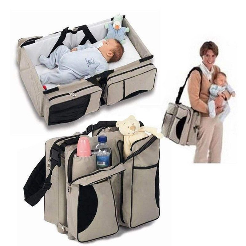 2 in 1 Newborn Baby Portable Crib Nappy Mummy Bag Stroller Bags Multifunctional Collapsible Cribs  traveloutdoor essential