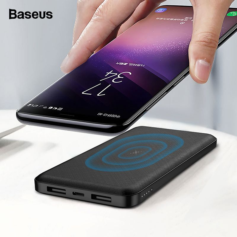 Baseus 10000mAh Qi Wireless Charger Power Bank External Battery Wireless Charging Powerbank For iPhone 7 X Samsung huawei Xiaomi