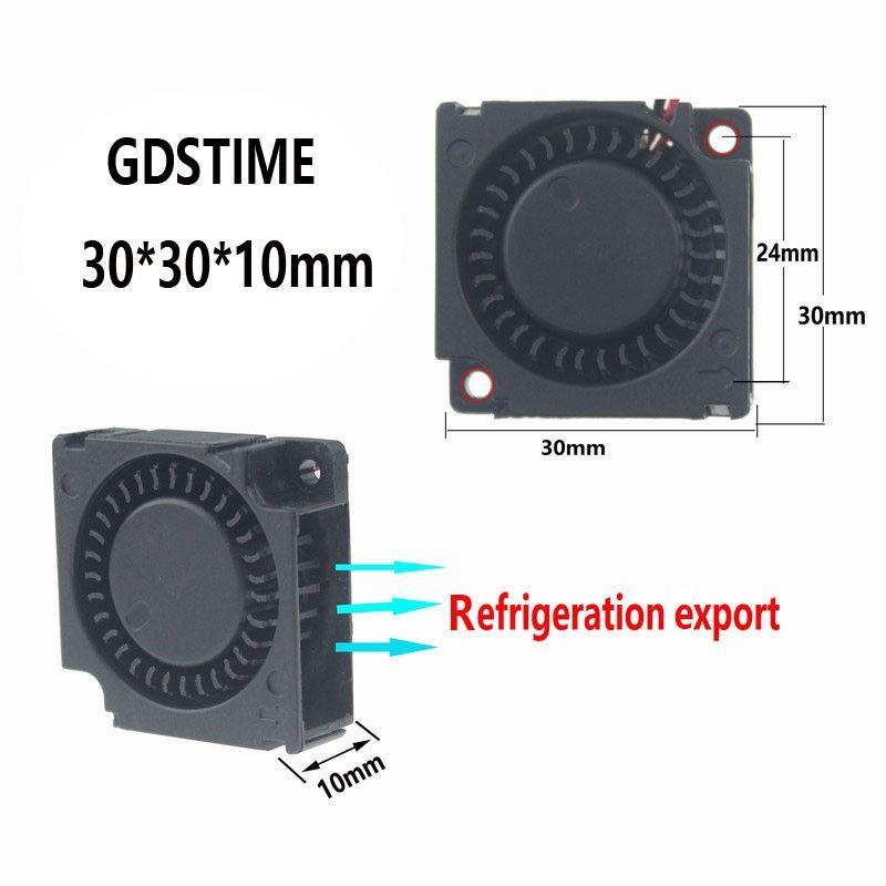 Gdstime 2 pcs 3cm Smart Fan 30mm Blower Fan DC 3010 30x10mm Mini Fan 12V High Speed Ball Bearing Fan 3D Printer Fan Laptop Fan