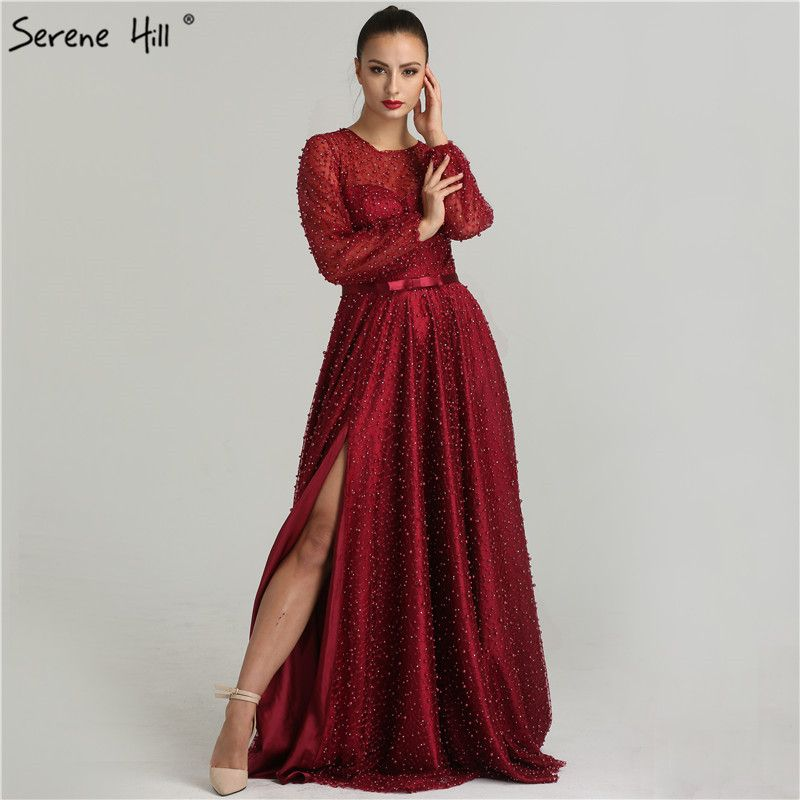 Sexy Side Split Sheer Long Sleeve Evening Dresses 2018 New Burgundy Pearls Prom Dress Party Robe De Soiree Real Pictures BLA6348