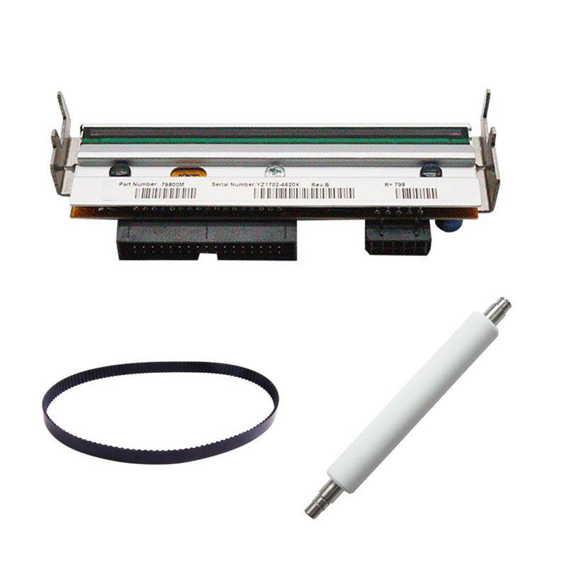 Druckkopf + Roller + Gürtel Für Zebra ZM400 203 dpi Neue und Kompatibel 79800 Mt Thermische etikettendrucker Teile