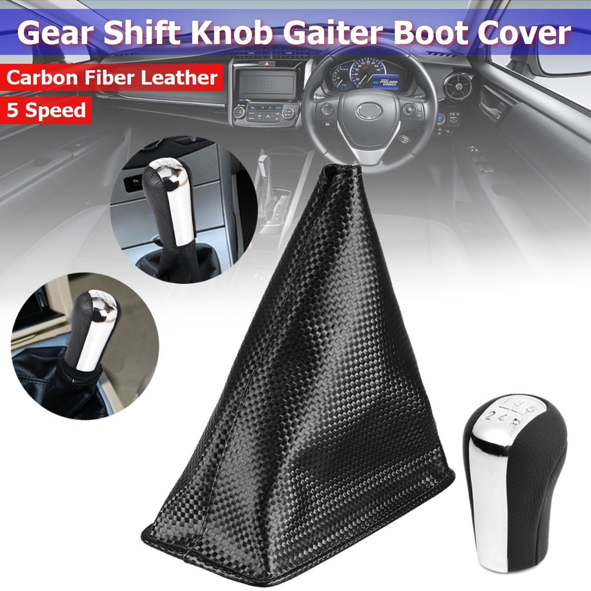5 Speed Black Silver ABS Carbon Fiber Leather Gear Knob Gaiter Boot Cover For Toyota Corolla 2005 2006 2007 2008 2009 2004 2003