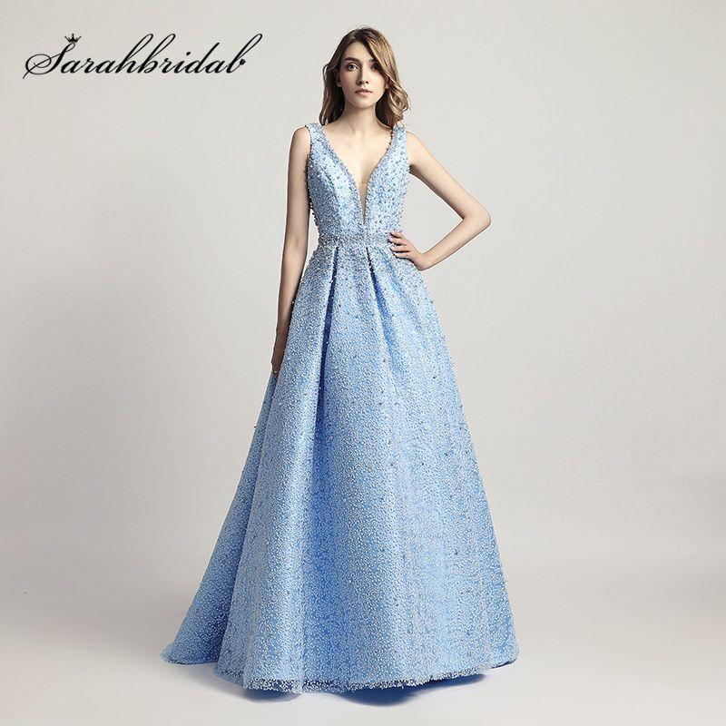 Schwere Perlen Perlen Luxus Ballkleid Celebrity Kleider Sexy V-ausschnitt Roter Teppich Kleid Sky Blue Formale Abend-partei-kleider OL442