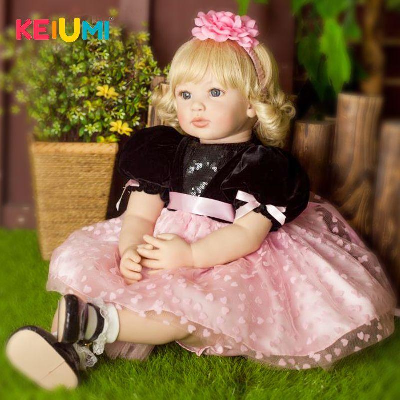 New Arrival 60 cm Soft Silicone Reborn Baby Dolls Lifelike 24 Inch Baby Reborn Menina Princess Girl Doll Children Birthday Gifts
