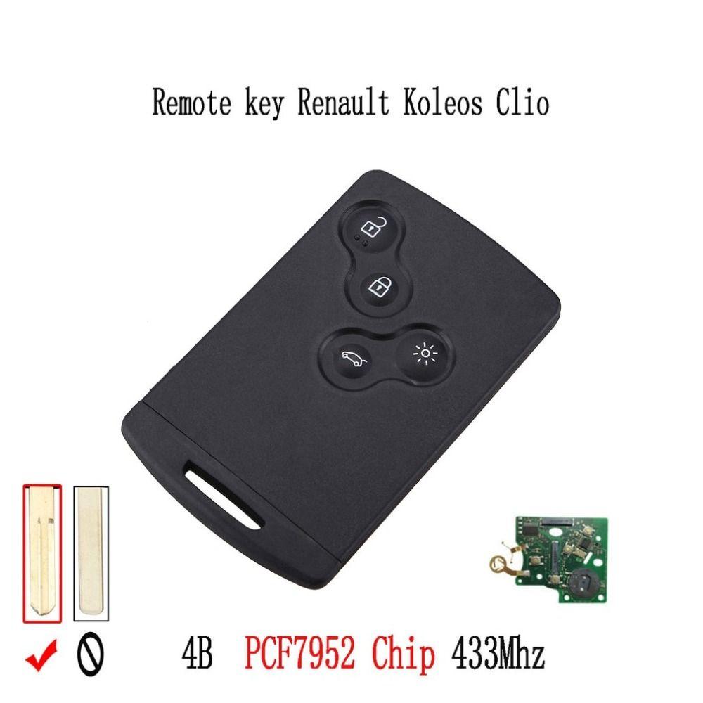 433 mhz PCF7952 Chip 4 Taste Remote Key Smart Karte Auto Schlüssel Für Renault Koleos Clio Megane Scenic Laguna