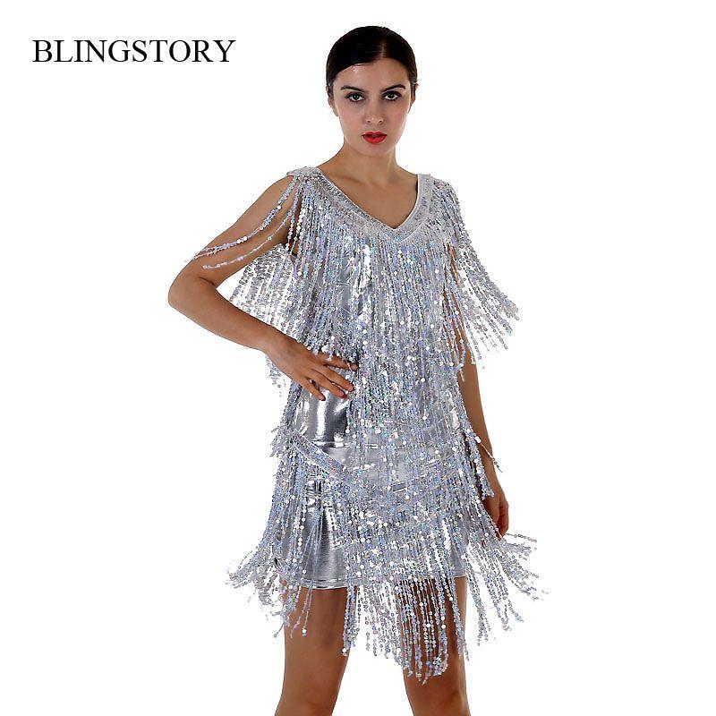 BLINGSTORY Nouvelle Arrivée Nouveauté Danse D'été Robe Sequin Robe Élégante Belles Robes avec Frange M-XXL Dropshipping