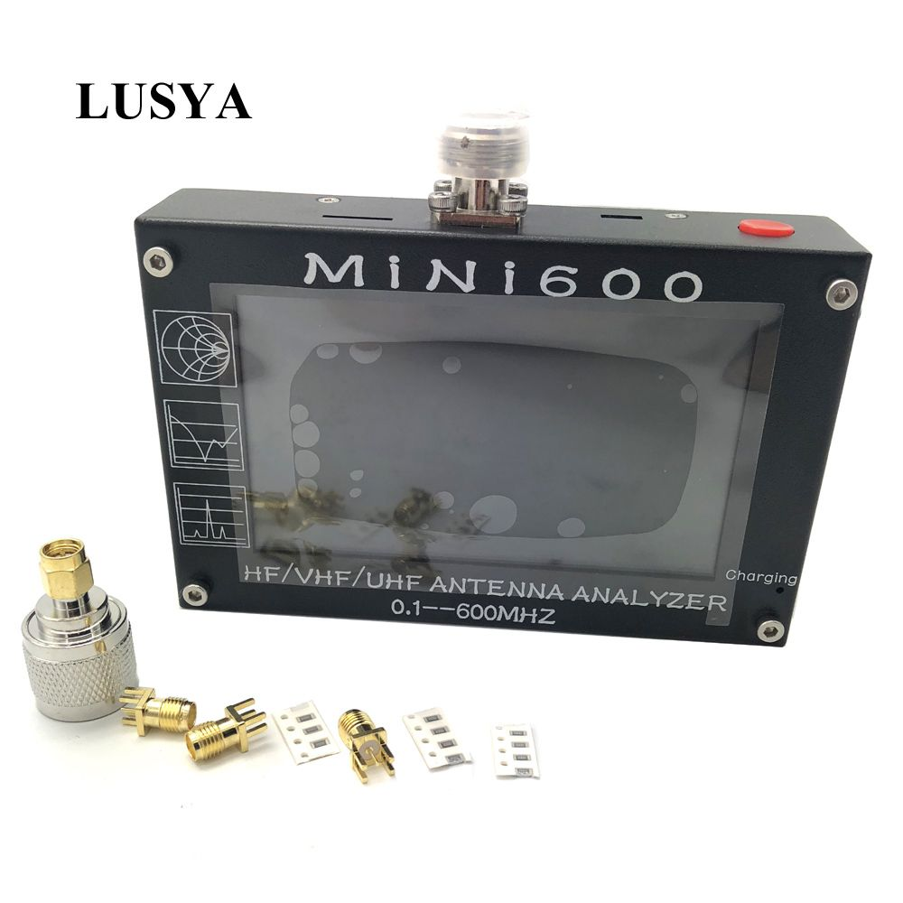 Lusya 4,3 inch LCD Mini600 HF VHF UHF Antenne Analyzer 0,1-600 MHz SWR Meter 1,0-1999 5 v/1.5A Für Radio C6-007