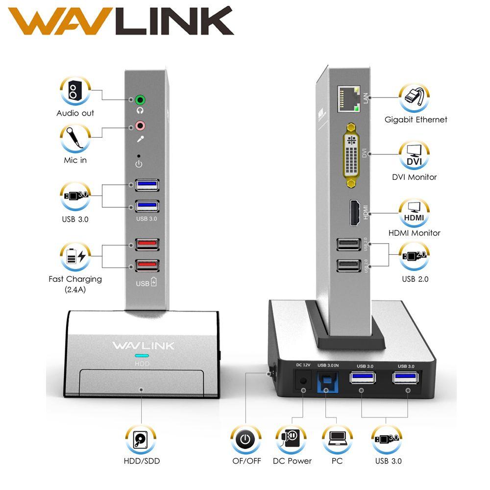 USB 3.0 Universal Laptop Docking Station w/ HDD&SSD Enclosure Base Dual Video Support HDMI/VGA/DVI to 2048X1152 Gigabit Ethernet